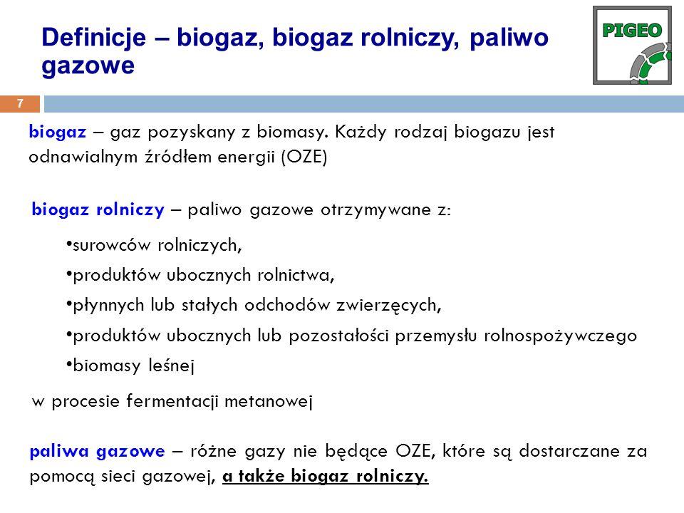 biogaz – gaz pozyskany z biomasy. Każdy rodzaj biogazu jest odnawialnym źródłem energii (OZE) Definicje – biogaz, biogaz rolniczy, paliwo gazowe 7 bio