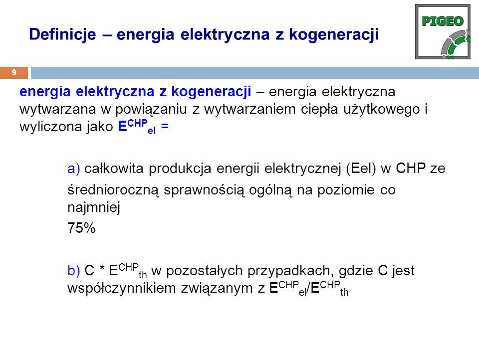 energia elektryczna z kogeneracji – energia elektryczna wytwarzana w powiązaniu z wytwarzaniem ciepła użytkowego i wyliczona jako E CHP el = a) całkow