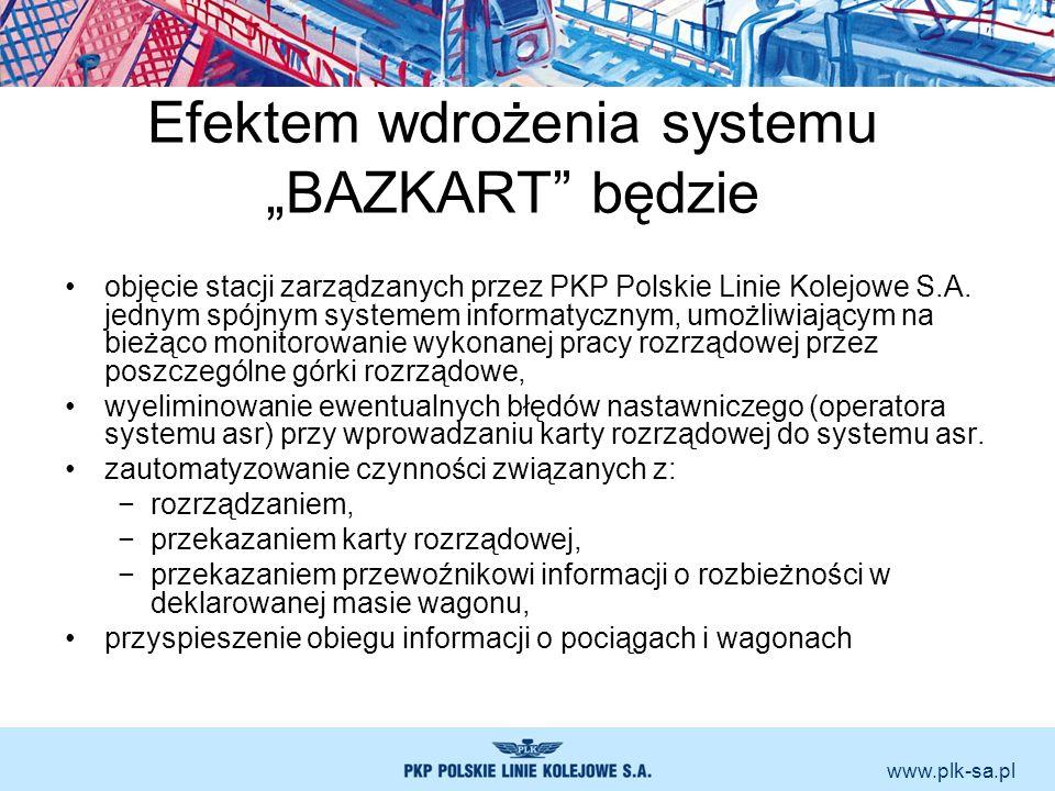 www.plk-sa.pl Efektem wdrożenia systemu BAZKART będzie objęcie stacji zarządzanych przez PKP Polskie Linie Kolejowe S.A. jednym spójnym systemem infor