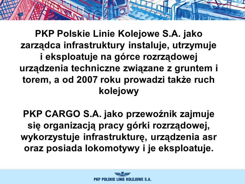 PKP Polskie Linie Kolejowe S.A. jako zarządca infrastruktury instaluje, utrzymuje i eksploatuje na górce rozrządowej urządzenia techniczne związane z