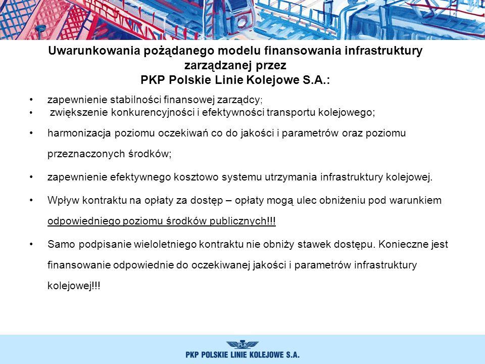 zapewnienie stabilności finansowej zarządcy ; zwiększenie konkurencyjności i efektywności transportu kolejowego; harmonizacja poziomu oczekiwań co do