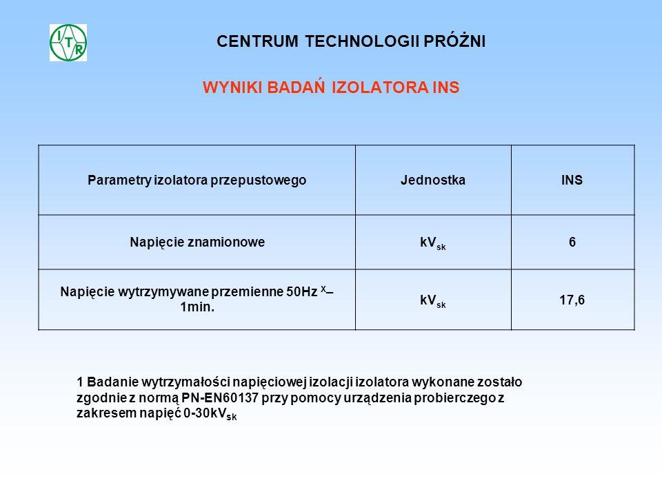 WYNIKI BADAŃ IZOLATORA INS 1 Badanie wytrzymałości napięciowej izolacji izolatora wykonane zostało zgodnie z normą PN-EN60137 przy pomocy urządzenia p