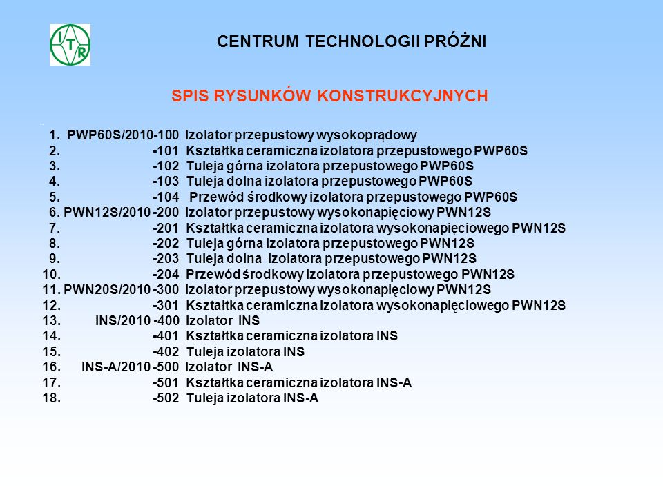 .. SPIS RYSUNKÓW KONSTRUKCYJNYCH 1. PWP60S/2010-100 Izolator przepustowy wysokoprądowy 2. -101 Kształtka ceramiczna izolatora przepustowego PWP60S 3.