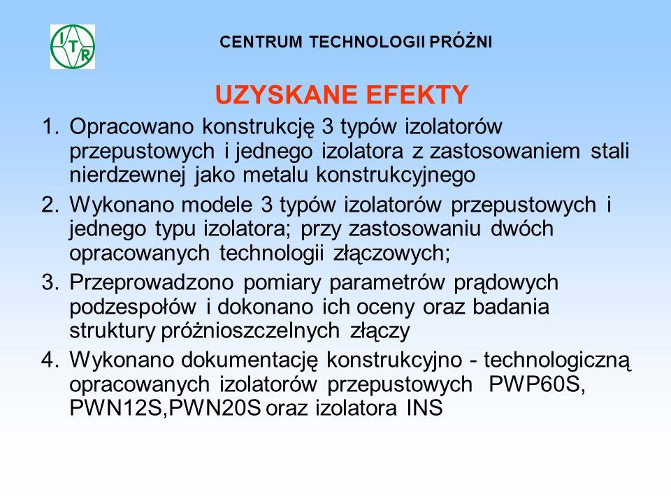 UZYSKANE EFEKTY 1.Opracowano konstrukcję 3 typów izolatorów przepustowych i jednego izolatora z zastosowaniem stali nierdzewnej jako metalu konstrukcy