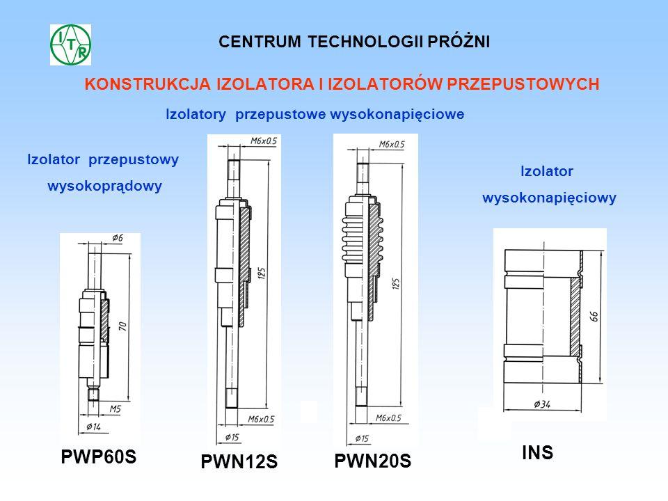 KONSTRUKCJA IZOLATORA I IZOLATORÓW PRZEPUSTOWYCH PWP60S PWN12S PWN20S INS Izolator przepustowy wysokoprądowy Izolatory przepustowe wysokonapięciowe Iz