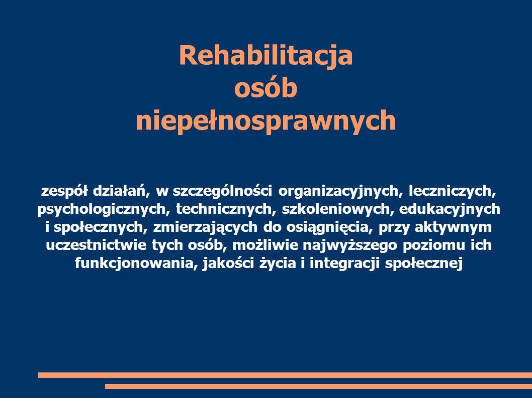 Rehabilitacja osób niepełnosprawnych zespół działań, w szczególności organizacyjnych, leczniczych, psychologicznych, technicznych, szkoleniowych, eduk