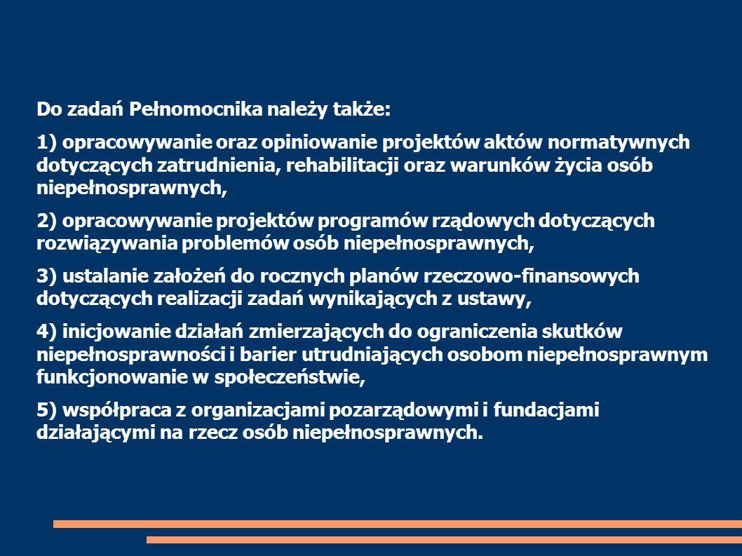 Do zadań Pełnomocnika należy także: 1) opracowywanie oraz opiniowanie projektów aktów normatywnych dotyczących zatrudnienia, rehabilitacji oraz warunk