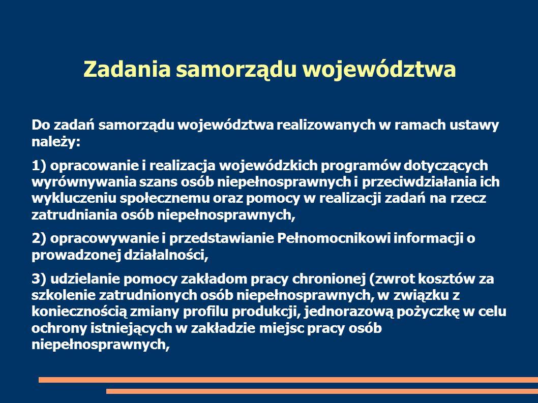 Do zadań samorządu województwa realizowanych w ramach ustawy należy: 1) opracowanie i realizacja wojewódzkich programów dotyczących wyrównywania szans