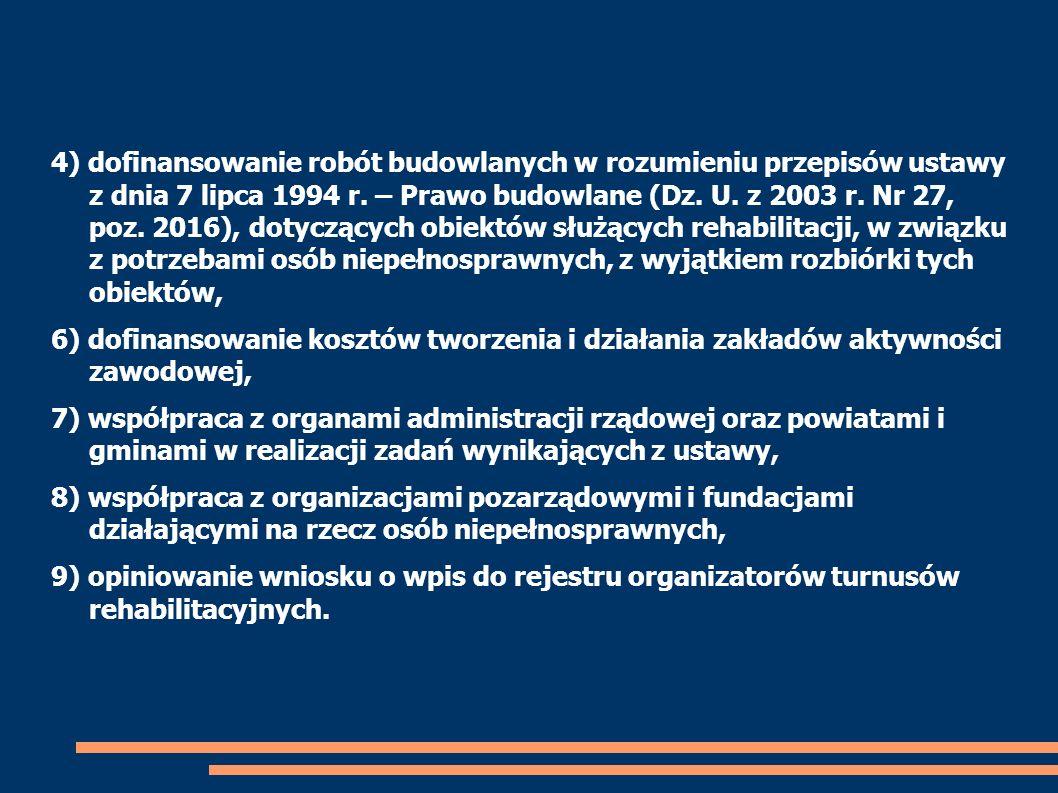 4) dofinansowanie robót budowlanych w rozumieniu przepisów ustawy z dnia 7 lipca 1994 r. – Prawo budowlane (Dz. U. z 2003 r. Nr 27, poz. 2016), dotycz