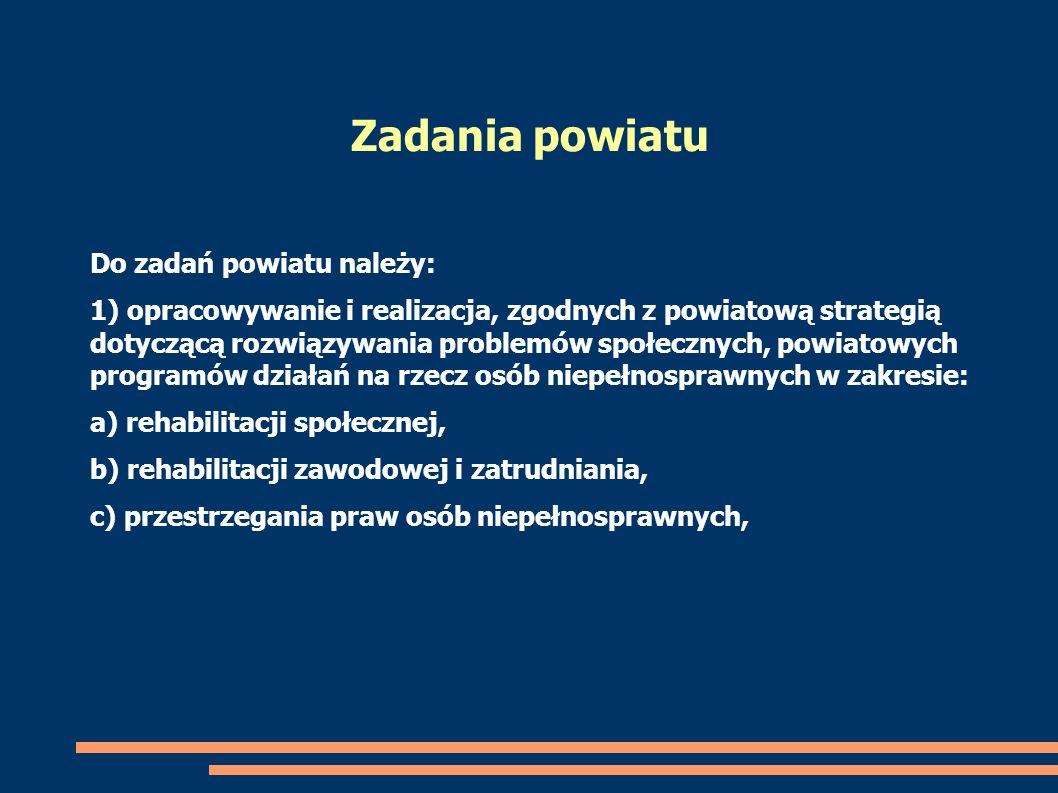 Do zadań powiatu należy: 1) opracowywanie i realizacja, zgodnych z powiatową strategią dotyczącą rozwiązywania problemów społecznych, powiatowych prog