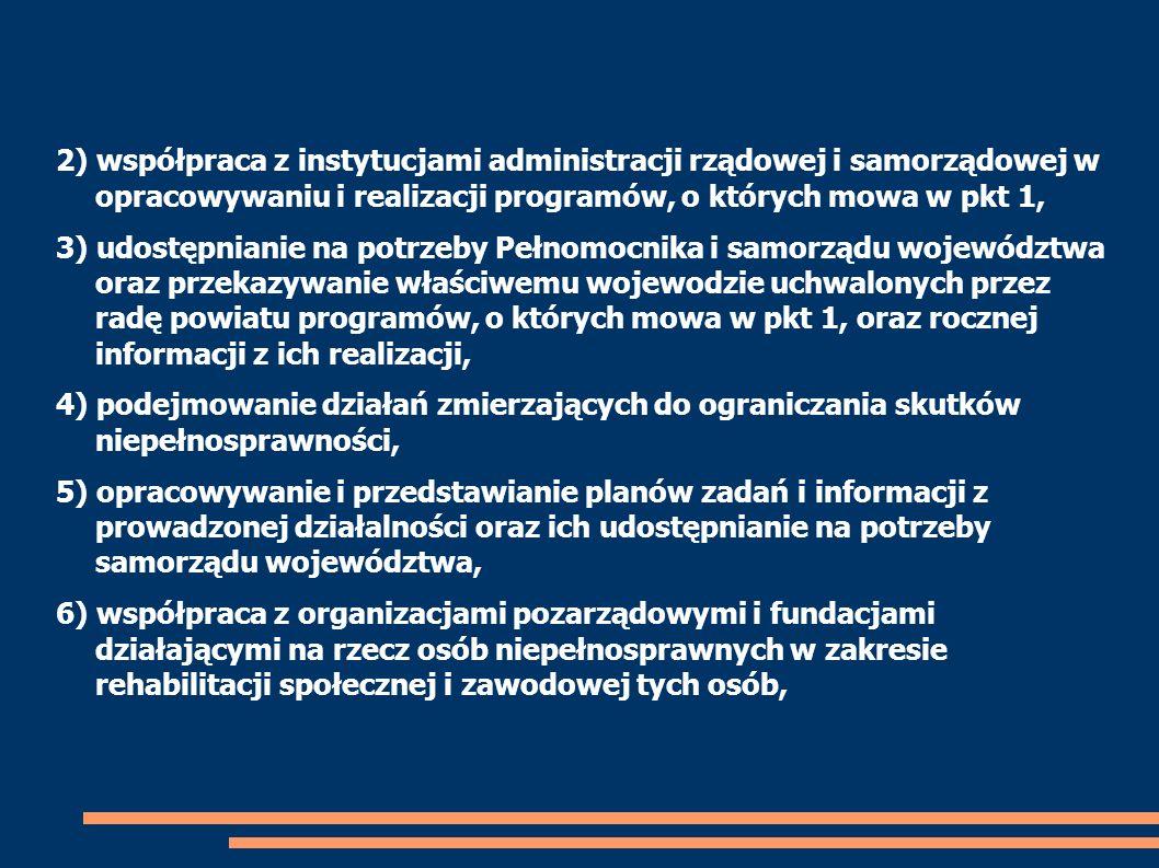 2) współpraca z instytucjami administracji rządowej i samorządowej w opracowywaniu i realizacji programów, o których mowa w pkt 1, 3) udostępnianie na