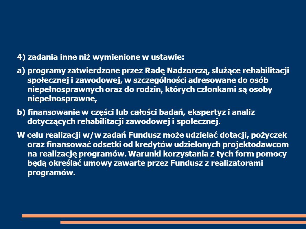 4) zadania inne niż wymienione w ustawie: a) programy zatwierdzone przez Radę Nadzorczą, służące rehabilitacji społecznej i zawodowej, w szczególności