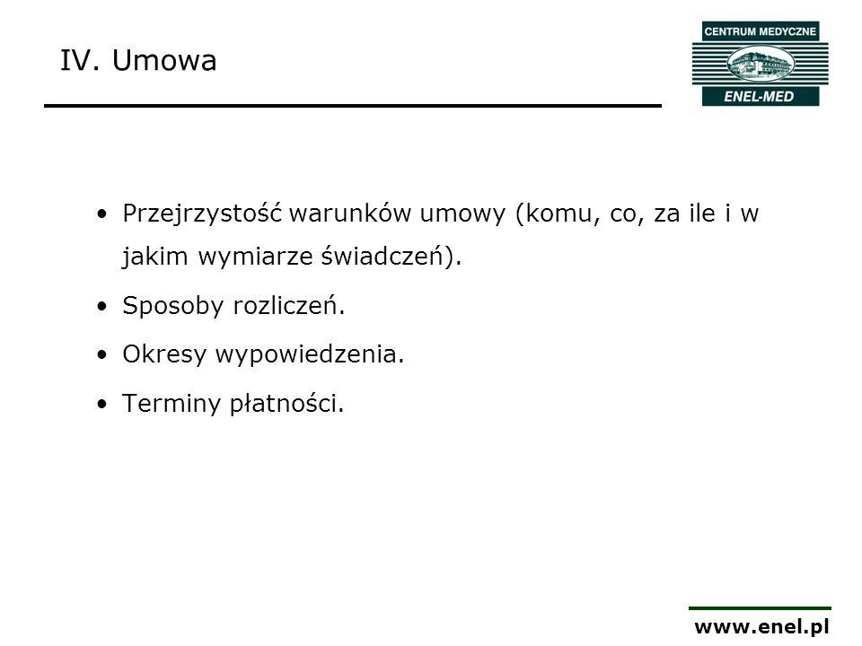 www.enel.pl Przejrzystość warunków umowy (komu, co, za ile i w jakim wymiarze świadczeń). Sposoby rozliczeń. Okresy wypowiedzenia. Terminy płatności.