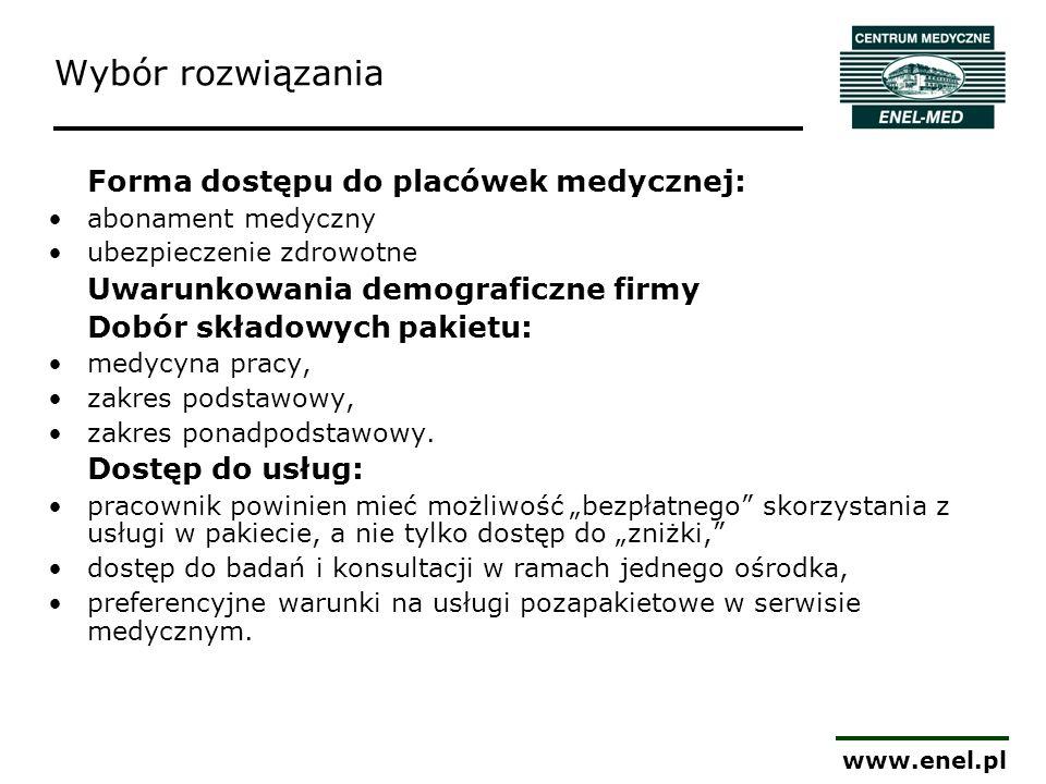 www.enel.pl Wybór rozwiązania Forma dostępu do placówek medycznej: abonament medyczny ubezpieczenie zdrowotne Uwarunkowania demograficzne firmy Dobór