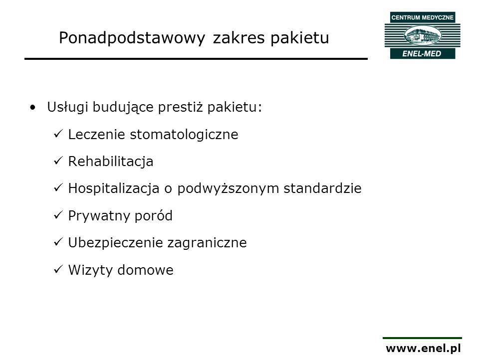 www.enel.pl Usługi budujące prestiż pakietu: Leczenie stomatologiczne Rehabilitacja Hospitalizacja o podwyższonym standardzie Prywatny poród Ubezpiecz