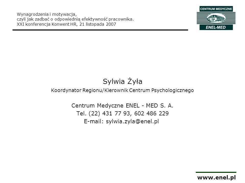 www.enel.pl Wynagrodzenia i motywacja, czyli jak zadbać o odpowiednią efektywność pracownika. XXI konferencja Konwent HR, 21 listopada 2007 Sylwia Żył