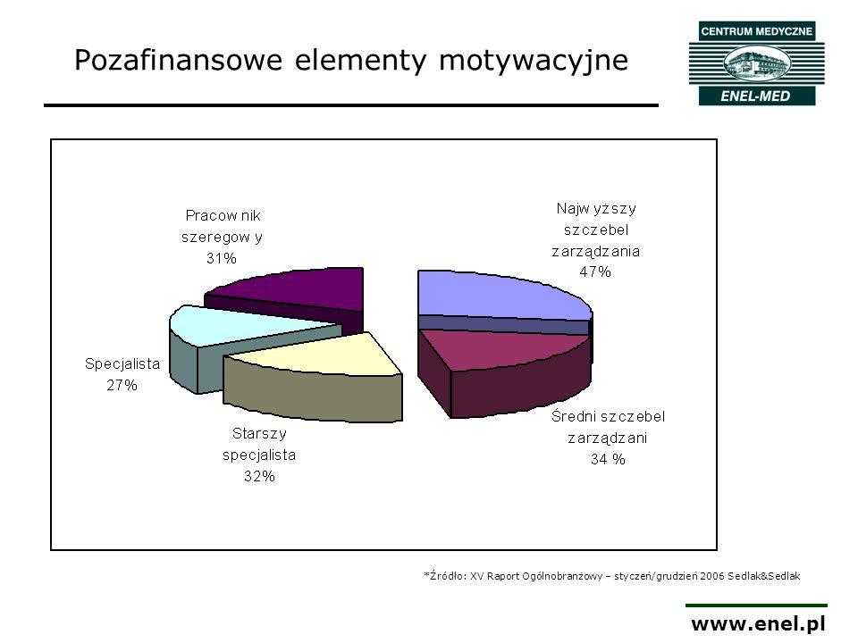 www.enel.pl Źródło: Gazeta Wyborcza, 29 października 2007 Dane z Badań Najlepsi Pracodawcy 2006/2007 (Hewitt Associates) Pozafinansowe elementy motywacyjne