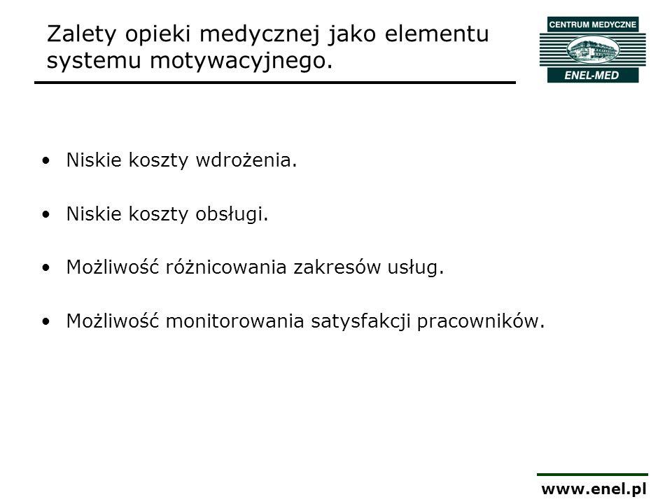 www.enel.pl Zalety opieki medycznej jako elementu systemu motywacyjnego. Niskie koszty wdrożenia. Niskie koszty obsługi. Możliwość różnicowania zakres