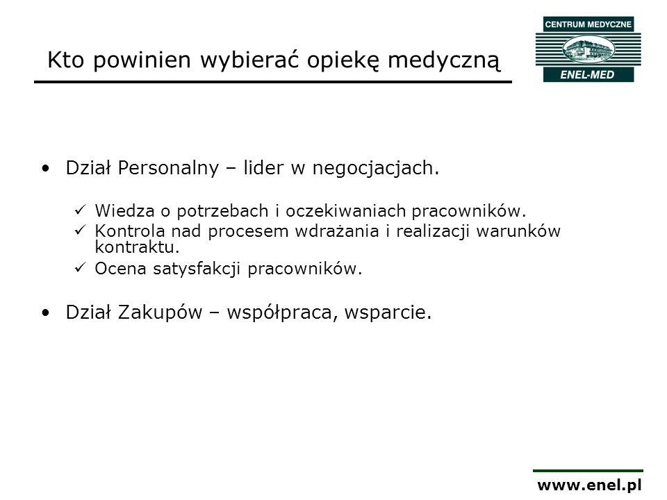 www.enel.pl Kto powinien wybierać opiekę medyczną Dział Personalny – lider w negocjacjach. Wiedza o potrzebach i oczekiwaniach pracowników. Kontrola n