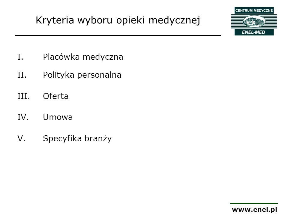 www.enel.pl Kryteria wyboru opieki medycznej I.Placówka medyczna II.Polityka personalna III.Oferta IV.Umowa V.Specyfika branży