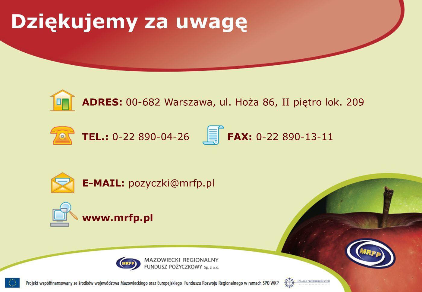 ADRES: 00-682 Warszawa, ul. Hoża 86, II piętro lok.