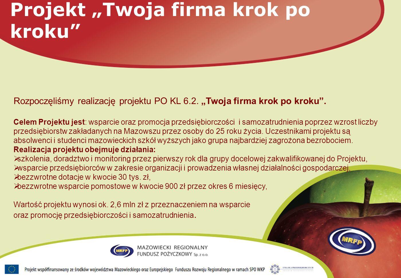 Rozpoczęliśmy realizację projektu PO KL 6.2. Twoja firma krok po kroku.