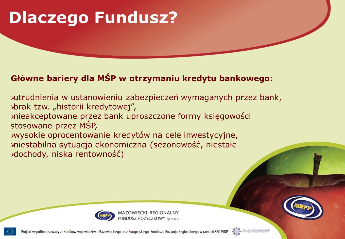 Główne bariery dla MŚP w otrzymaniu kredytu bankowego: utrudnienia w ustanowieniu zabezpieczeń wymaganych przez bank, brak tzw.