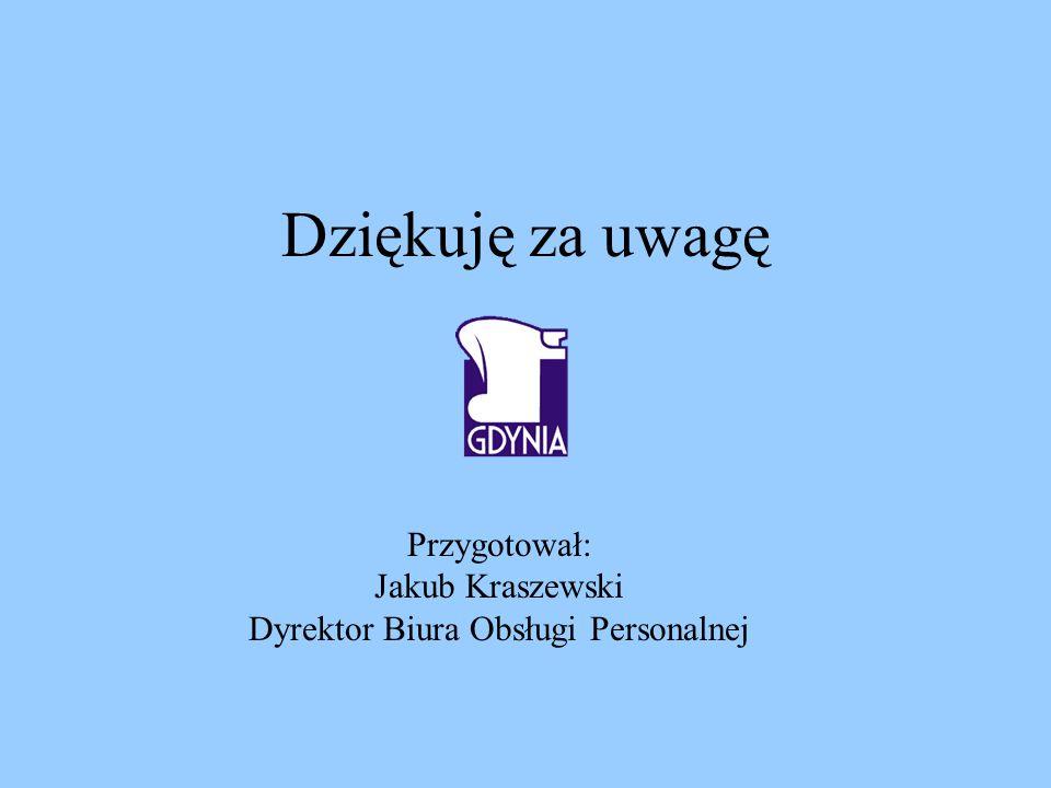 Dziękuję za uwagę Przygotował: Jakub Kraszewski Dyrektor Biura Obsługi Personalnej