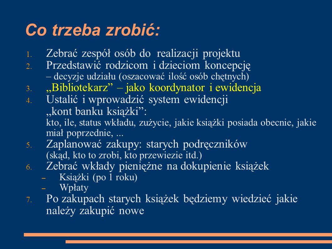 Ewidencja Banku Książki Przykład dla GIMNAZJUM