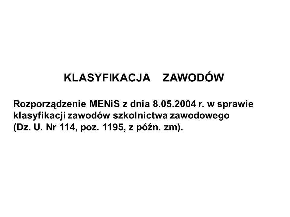 KLASYFIKACJA ZAWODÓW Rozporządzenie MENiS z dnia 8.05.2004 r. w sprawie klasyfikacji zawodów szkolnictwa zawodowego (Dz. U. Nr 114, poz. 1195, z późn.