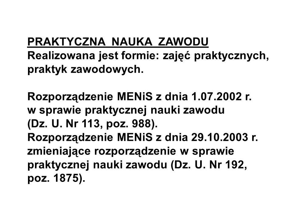 PRAKTYCZNA NAUKA ZAWODU Realizowana jest formie: zajęć praktycznych, praktyk zawodowych. Rozporządzenie MENiS z dnia 1.07.2002 r. w sprawie praktyczne