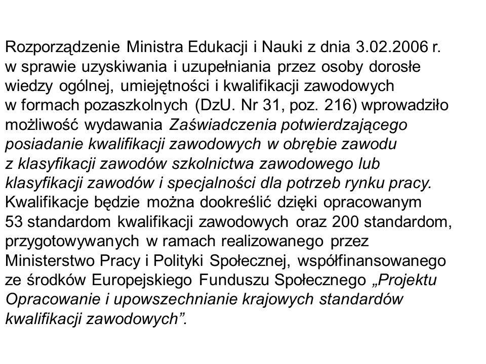 Rozporządzenie Ministra Edukacji i Nauki z dnia 3.02.2006 r. w sprawie uzyskiwania i uzupełniania przez osoby dorosłe wiedzy ogólnej, umiejętności i k