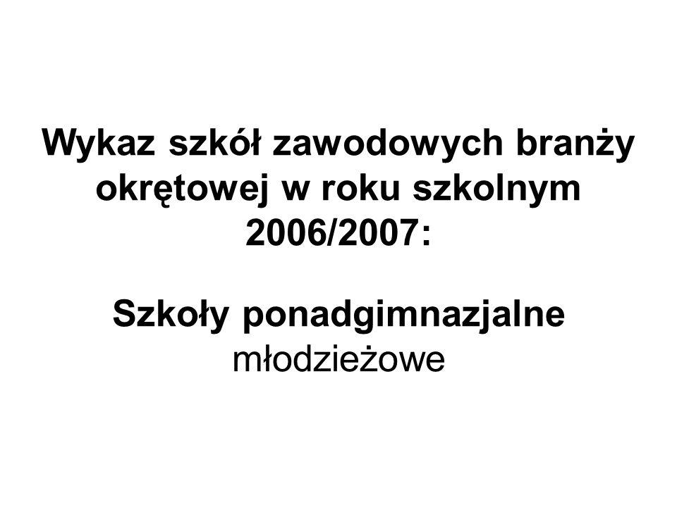 Wykaz szkół zawodowych branży okrętowej w roku szkolnym 2006/2007: Szkoły ponadgimnazjalne młodzieżowe