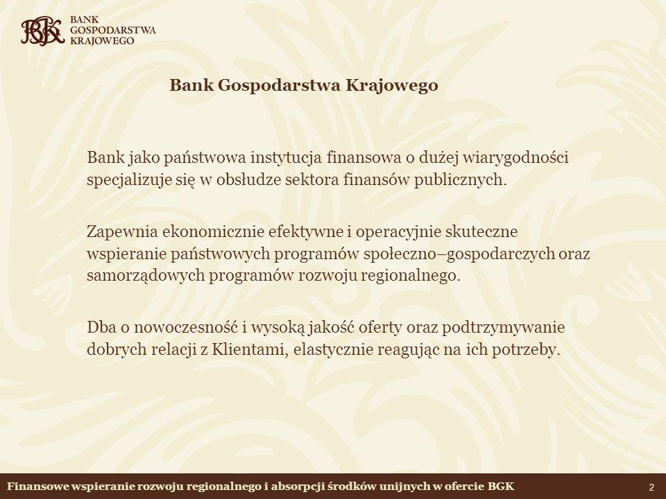 13 Finansowe wspieranie rozwoju regionalnego i absorpcji środków unijnych w ofercie BGK Fundusz Rozwoju Inwestycji Komunalnych (cd.) Środki służą gminom do przygotowywania projektów inwestycji finansowanych następnie z funduszy Unii Europejskiej - ustawa o Funduszu Rozwoju Inwestycji Komunalnych Warunki kredytu Kwota kredytu: - do 500 tysięcy zł na jeden projekt - do 80% zaplanowanych kosztów netto Okres kredytowania: - do 36 miesięcy - możliwa karencja w spłacie kredytu - do 18 miesięcy Zabezpieczenie: - weksel własny in blanco Oprocentowanie kredytu: - 0,5 stopy redyskonta weksli NBP (stopa redyskonta weksli obecnie – 6.0%)
