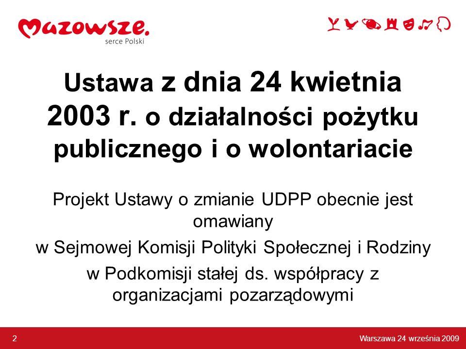 Ustawa z dnia 24 kwietnia 2003 r. o działalności pożytku publicznego i o wolontariacie Projekt Ustawy o zmianie UDPP obecnie jest omawiany w Sejmowej