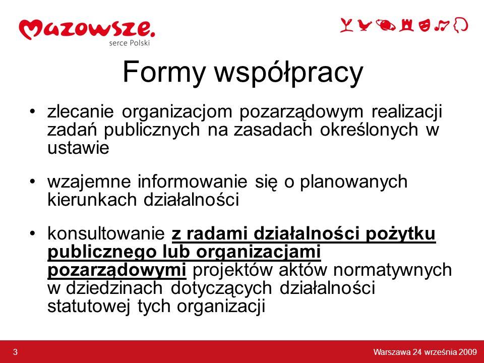Formy współpracy zlecanie organizacjom pozarządowym realizacji zadań publicznych na zasadach określonych w ustawie wzajemne informowanie się o planowanych kierunkach działalności konsultowanie z radami działalności pożytku publicznego lub organizacjami pozarządowymi projektów aktów normatywnych w dziedzinach dotyczących działalności statutowej tych organizacji Warszawa 24 września 2009 3