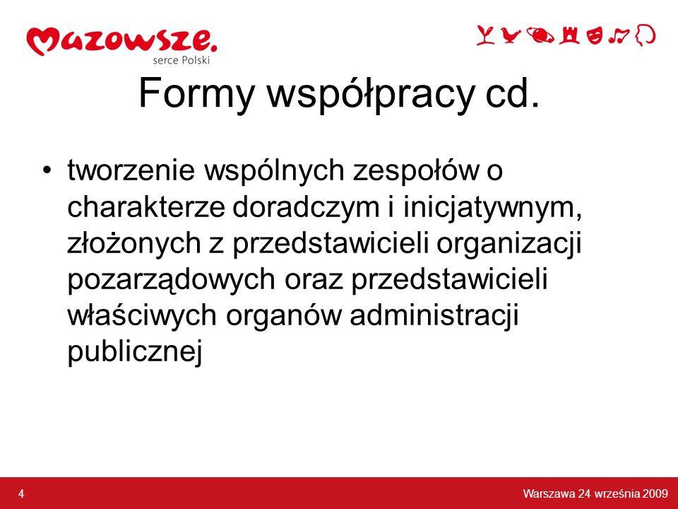 Formy współpracy cd. tworzenie wspólnych zespołów o charakterze doradczym i inicjatywnym, złożonych z przedstawicieli organizacji pozarządowych oraz p
