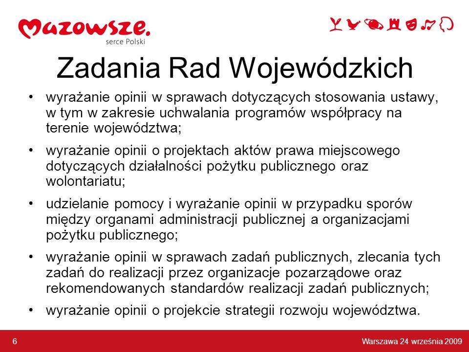 Zadania Rad Wojewódzkich wyrażanie opinii w sprawach dotyczących stosowania ustawy, w tym w zakresie uchwalania programów współpracy na terenie wojewó