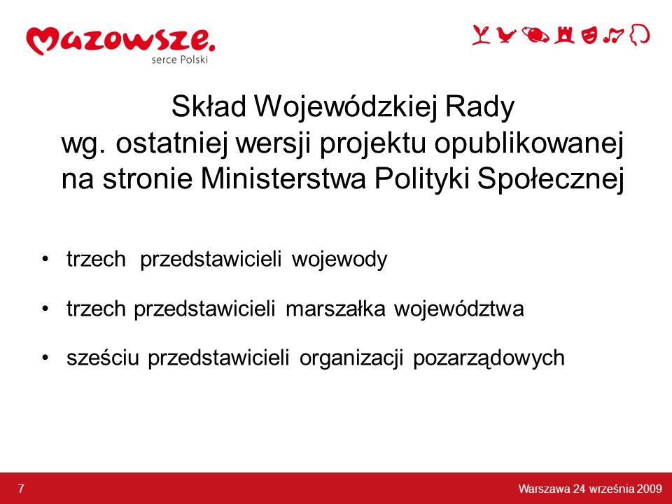 Skład Wojewódzkiej Rady wg. ostatniej wersji projektu opublikowanej na stronie Ministerstwa Polityki Społecznej trzech przedstawicieli wojewody trzech