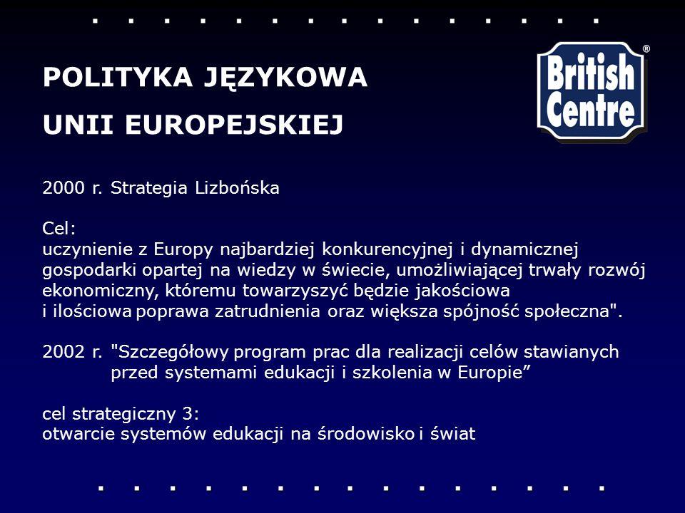 2000 r.Strategia Lizbońska Cel: uczynienie z Europy najbardziej konkurencyjnej i dynamicznej gospodarki opartej na wiedzy w świecie, umożliwiającej trwały rozwój ekonomiczny, któremu towarzyszyć będzie jakościowa i ilościowa poprawa zatrudnienia oraz większa spójność społeczna .