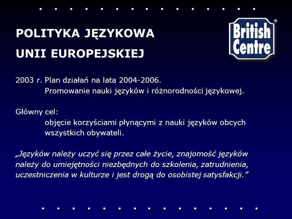 2003 r.Plan działań na lata 2004-2006. Promowanie nauki języków i różnorodności językowej. Główny cel: objęcie korzyściami płynącymi z nauki języków o