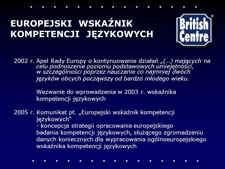 2002 r.Apel Rady Europy o kontynuowanie działań (…) mających na celu podnoszenie poziomu podstawowych umiejętności, w szczególności poprzez nauczanie co najmniej dwóch języków obcych począwszy od bardzo młodego wieku.