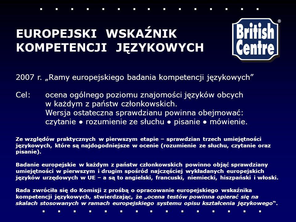 2007 r.Ramy europejskiego badania kompetencji językowych Cel: ocena ogólnego poziomu znajomości języków obcych w każdym z państw członkowskich. Wersja