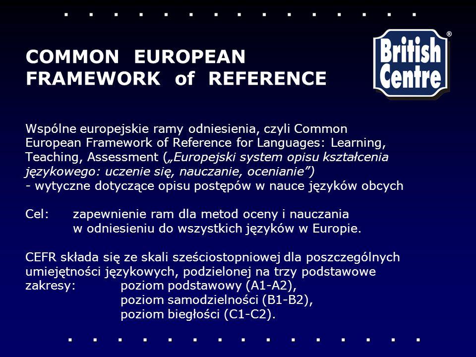 Wspólne europejskie ramy odniesienia, czyli Common European Framework of Reference for Languages: Learning, Teaching, Assessment (Europejski system opisu kształcenia językowego: uczenie się, nauczanie, ocenianie) - wytyczne dotyczące opisu postępów w nauce języków obcych Cel:zapewnienie ram dla metod oceny i nauczania w odniesieniu do wszystkich języków w Europie.