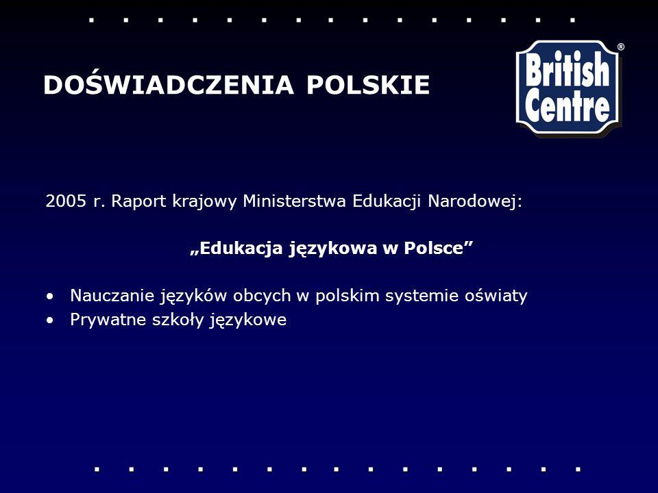 2005 r.Raport krajowy Ministerstwa Edukacji Narodowej: Edukacja językowa w Polsce Nauczanie języków obcych w polskim systemie oświaty Prywatne szkoły językowe DOŚWIADCZENIA POLSKIE