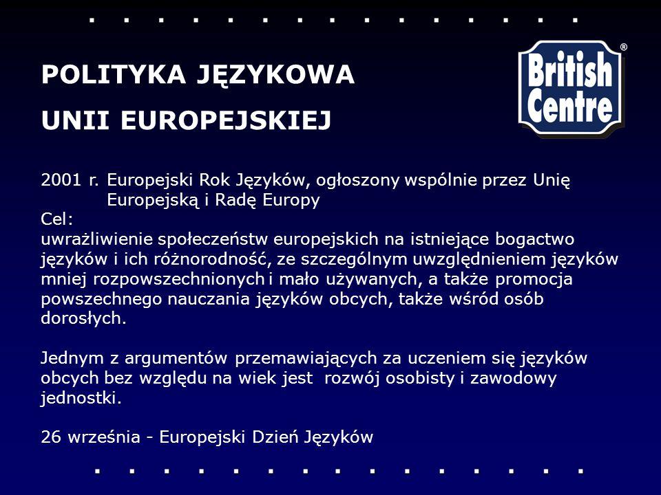 2001 r.Europejski Rok Języków, ogłoszony wspólnie przez Unię Europejską i Radę Europy Cel: uwrażliwienie społeczeństw europejskich na istniejące bogactwo języków i ich różnorodność, ze szczególnym uwzględnieniem języków mniej rozpowszechnionych i mało używanych, a także promocja powszechnego nauczania języków obcych, także wśród osób dorosłych.