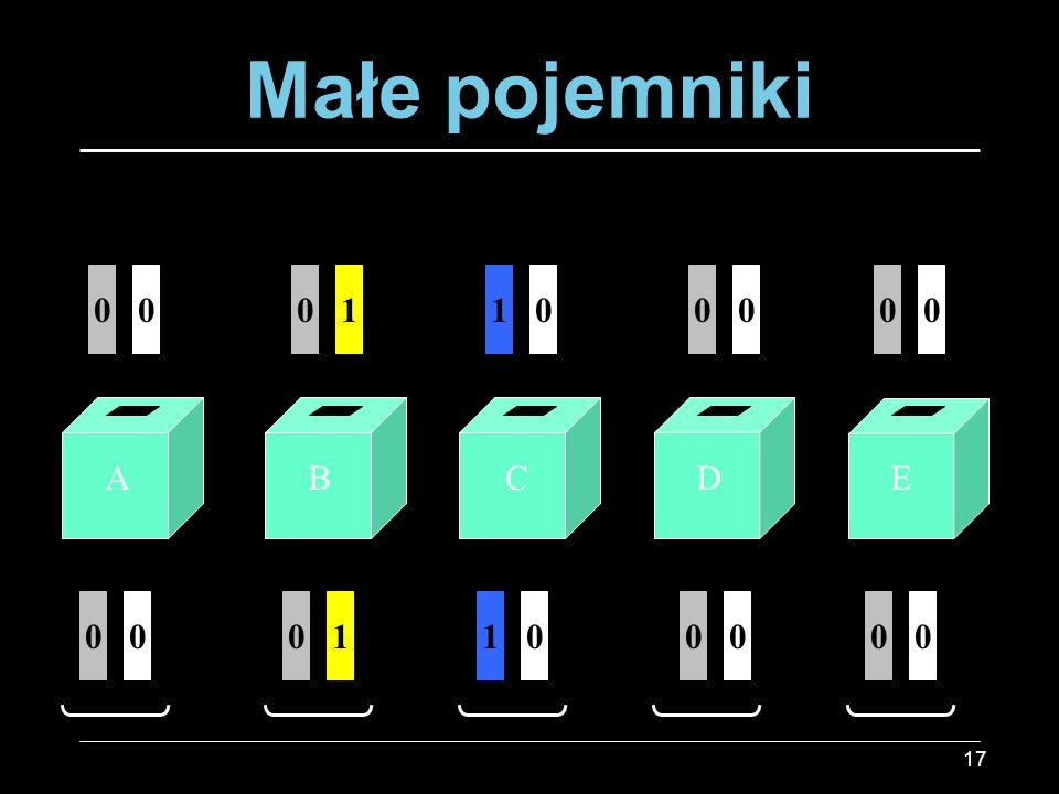 17 Małe pojemniki 01000 01000 00100 00100 ABCDE