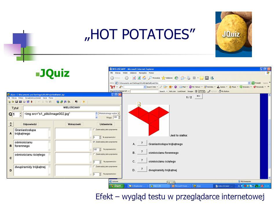 HOT POTATOES JQuiz Efekt – wygląd testu w przeglądarce internetowej