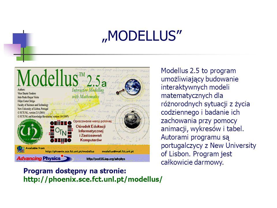MODELLUS Modellus 2.5 to program umożliwiający budowanie interaktywnych modeli matematycznych dla różnorodnych sytuacji z życia codziennego i badanie