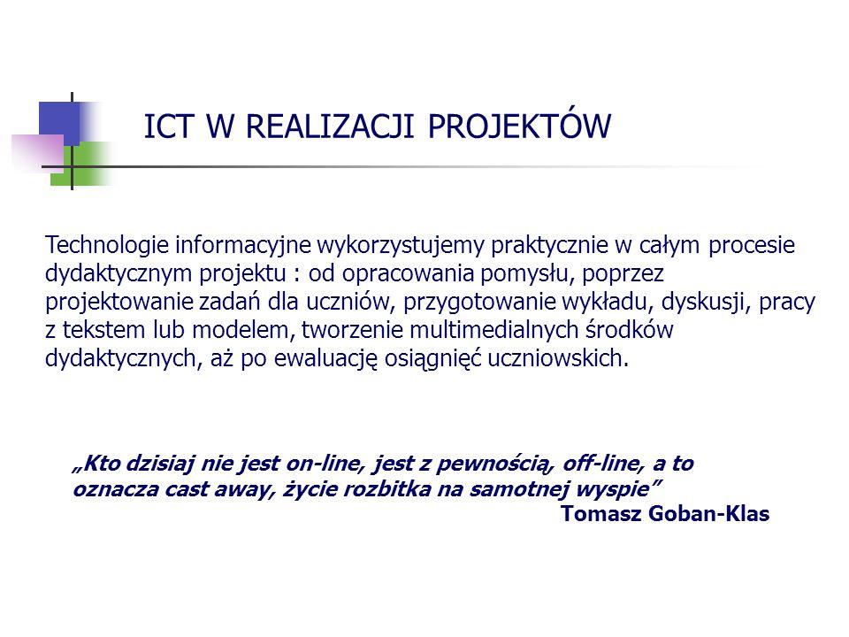 wyszukiwania w Internecie oraz tworzenia elektronicznych źródeł wiedzy projektowania dydaktycznego wspomaganego technologią informacyjną przygotowania multimedialnych środków dydaktycznych.